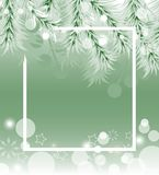 Green Christmas background with fir white branches. Vector Stock Image