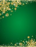 Green christmas background with frame of gold glittering snowflakes, vector illustration stock illustration