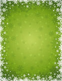 Green christmas background with  frame of snowflakes and stars, Stock Images