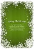 Green Christmas background with frame of snowflakes. Vector eps10 illustration Royalty Free Stock Images