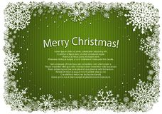Green Christmas background with frame of snowflakes Stock Photos