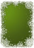 Green Christmas background with frame of snowflakes. Green Christmas background with white frame of snowflakes. Winter Christmas vector eps10 illustration with Stock Images
