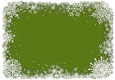 Green Christmas background with frame of snowflakes. Green Christmas background with white frame of snowflakes. Winter Christmas vector eps10 illustration with Royalty Free Stock Photography
