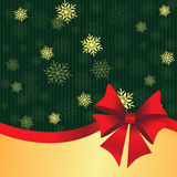 Green Christmas background with gift bow Royalty Free Stock Photo