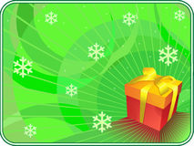 Green christmas background with gift box. Green christmas background with gift box and snowflakes Royalty Free Stock Photos