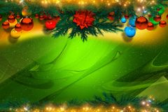 Green Christmas Background. Green Glassy Christmas Background with Christmas Ornaments Stock Photos