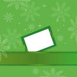 Green christmas background with greeting card Stock Photos