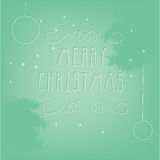 Green Christmas background with hand drawn letters. Green Christmas background with phrase Royalty Free Stock Photography