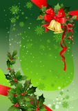 Green Christmas background with holly. Space for text Royalty Free Stock Image