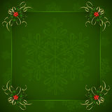 Green Christmas background with Holly berries. And snowflakes, illustration Royalty Free Stock Image