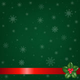 Green Christmas Background And Holly Berry. Vector Royalty Free Stock Image