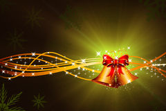 Green christmas background with jingle bell Royalty Free Stock Images