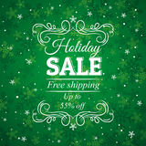 Green christmas background and label with sale off royalty free stock photography
