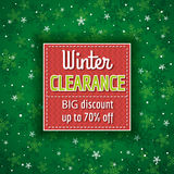 Green christmas background and  label with sale offer Royalty Free Stock Images