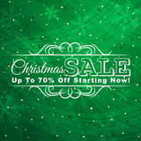Green christmas background with label for sale, ve. Ctor illustration Royalty Free Stock Images