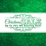 Green christmas background with label for sale, ve Stock Image
