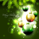 Green Christmas background. Luxury green Christmas background with baubles Royalty Free Stock Images