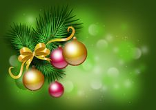 Green christmas background with ornaments  Royalty Free Stock Image