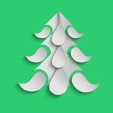 Green christmas background with paper tree. Stock Photography
