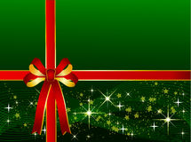 Green Christmas Background with Ribbon Royalty Free Stock Photo