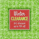 Green christmas background and  sale label Stock Images