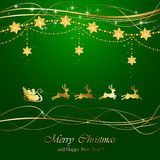 Green Christmas background with Santa Royalty Free Stock Images