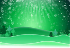 Green christmas background with snow flakes. Raster Version. Raster Illustration Royalty Free Stock Image