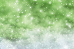 Green Christmas Background With Snow, Snwoflakes, Stars Royalty Free Stock Images
