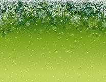 Green christmas background with snowflakes and stars, vector Royalty Free Stock Photo