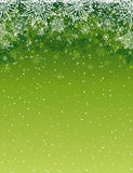 Green christmas background with snowflakes and stars, vector. Illustration Stock Photo