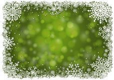 Green Christmas background with snowflakes. Green Christmas background with white frame of snowflakes. Winter Christmas vector eps10 illustration with copy-space Stock Images