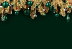 Green Christmas background with spruce branches. Emerald New Year background with spruce branches and Christmas balls. Vector illustration Royalty Free Stock Image