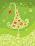 Green christmas background with tree Stock Images