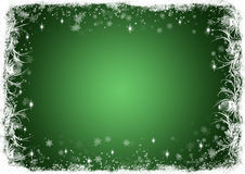 Green Christmas background with white frost Stock Photography