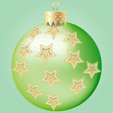 Green Christmas bal. L with stars ornament Royalty Free Stock Photography