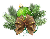 Green Christmas ball with bow Royalty Free Stock Photography