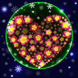 Green Christmas ball with 3d heart made of flowers inside Stock Photo