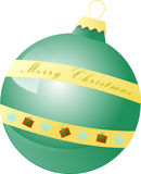 Green Christmas ball with golden Merry Christmass.  Royalty Free Stock Photos