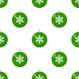 Green Christmas Ball Icon Seamless Pattern Royalty Free Stock Images