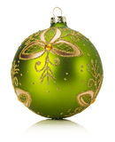 Green Christmas ball isolated on the white background Royalty Free Stock Images