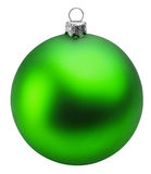 Green christmas ball over white background clipping path Stock Photography