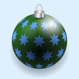 Green Christmas ball reflecting light New Year lights. Vector illustration Stock Image