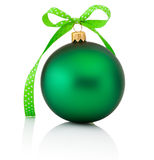 Green Christmas ball with ribbon bow Isolated on white backgroun Stock Photo