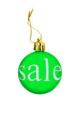 Green Christmas ball with sale tag.Isolated. Royalty Free Stock Photo