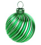 Green Christmas ball shiny striped vintage stylish vector illustration
