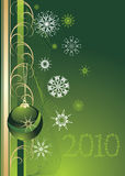 Green Christmas ball with snowflakes. Background Stock Photos