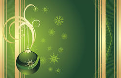 Green Christmas ball with snowflakes. Card Stock Photography