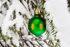 Green Christmas ball on snowy fir tree Royalty Free Stock Photos