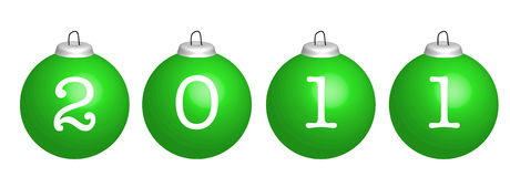 Green christmas balls. With number 2011, illustration Stock Photography
