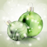Green Christmas balls Stock Photo